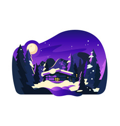 beautiful winter hut vector image