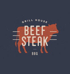 beef cow poster for butchery meat shop vector image