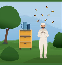 Beekeeper collects honey from bees beekeeper in a vector