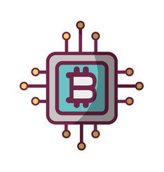 bitcoin currency sign with circuits network vector image