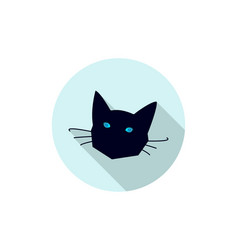 black cat head icon vector image