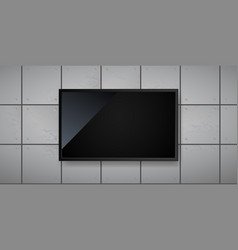 blank led screen hanging on wall template vector image