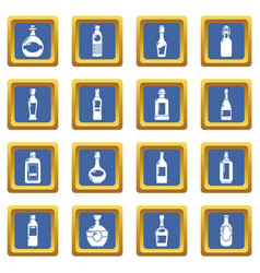 bottles icons set blue square vector image