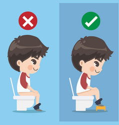 Boy demonstrates how to sit excrete properly vector