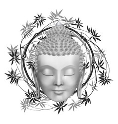 Buddha face with bamboo t-shirt and tattoo print vector