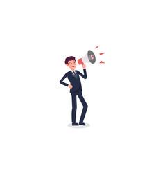 businessman cartoon holding megaphone vector image