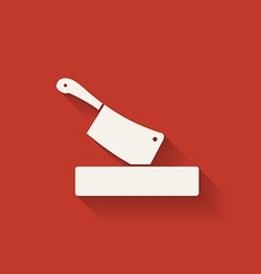 butcher knife in chopping board vector image