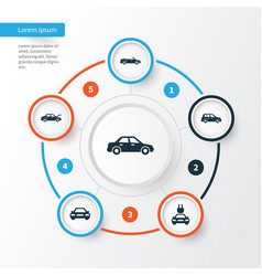 car icons set collection of auto fixing vector image