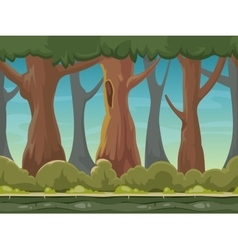 cartoon seamless forest background vector image