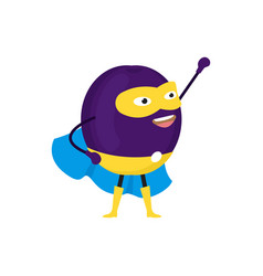 cartoon superhero character plum flat design vector image