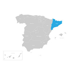 Catalonia autonomous community in the map of spain vector