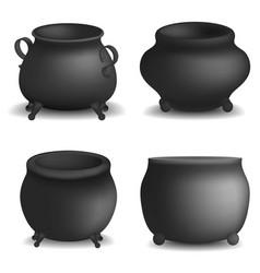 Cauldron pot halloween mockup set realistic style vector