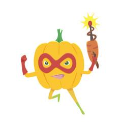 Cheerful cartoon character superhero pumpkin vector