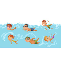 childrens swimming in pool cheerful and active vector image