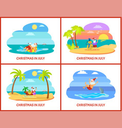 Christmas vacation in july icon postcard vector