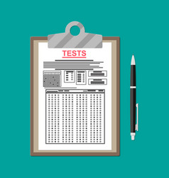 clipboard with exam test answer sheet and pen vector image