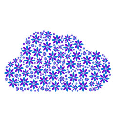 cloud collage of abstract flower icons vector image