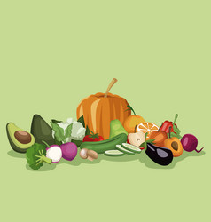 Color background with vegetables and fruits vector