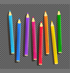 color pencils on on transparency background vector image