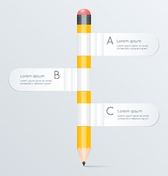 Creative template with pencil banner flow chart vector