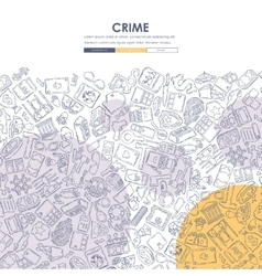 Crime Doodle Website Template Design vector