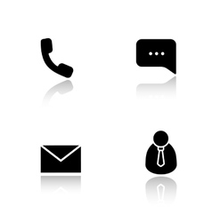 Customer support drop shadow icons set vector