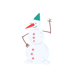 cute funny snowman character christmas and new vector image