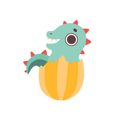 cute little dino hatched from egg adorable baby vector image
