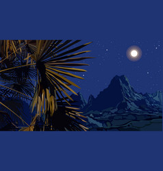 drawn night landscape of palm leaves on a vector image
