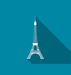 Eiffel tower flat icon with long shadow vector