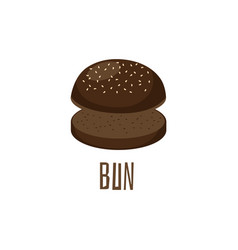 Empty burger or sandwich round black bun flat vector