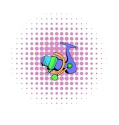 Fishing reel icon comics style vector