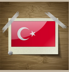 Flags Turkey at frame on wooden texture vector image