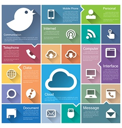 Flat design interface icon set 1 vector image