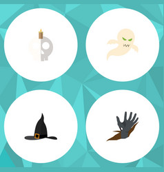 flat icon festival set of ghost witch cap zombie vector image