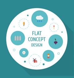 flat icons landscape cultivator cloud vector image