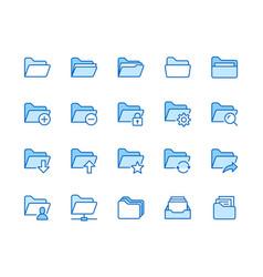 folders flat line icons set file catalog vector image