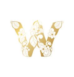 golden ornamental alphabet letter w font vector image