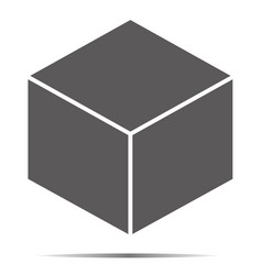 Gray cube icon isolated on background modern flat vector