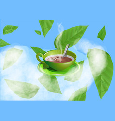 Green cup with tea of coffee vector