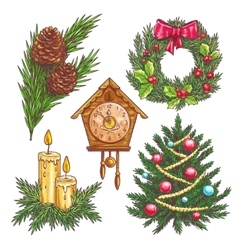 hand drawn christmas decorative elements vector image