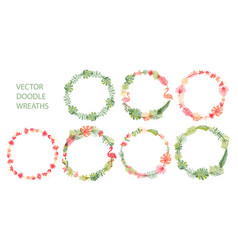 hand drawn tropical flower wreath collection vector image