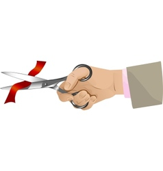 Hand with scissors cutting red ribbon vector image