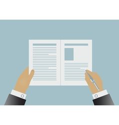 Hands signing business contract vector image