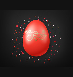 happy easter wishes card red egg on black vector image