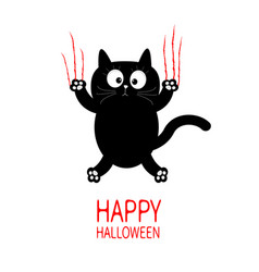 Happy halloween black cat claw scratch glass cute vector