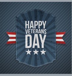 Happy veterans day paper sign vector