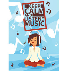 headphone woman character in headset vector image