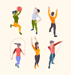 home fitness characters people sport gym vector image