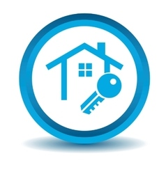 House key icon blue 3d vector